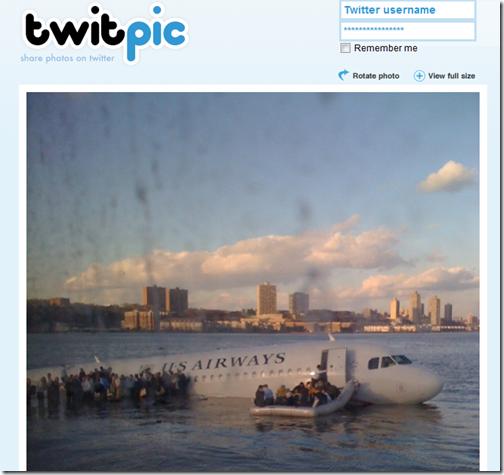 twitpic - Hudson Plane